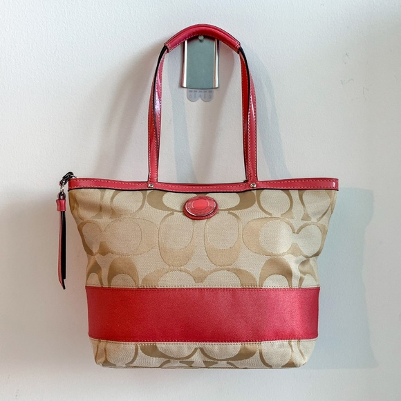 d14d90a2e3 Coach Bags | Pink Signature Print Canvas Tote Bag | Poshmark